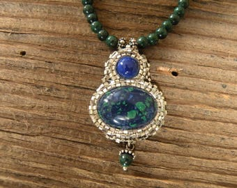 Beaded Necklace-Azurite, Malachite and Lapis-Bead Embroidery-Beautiful Beaded Necklace