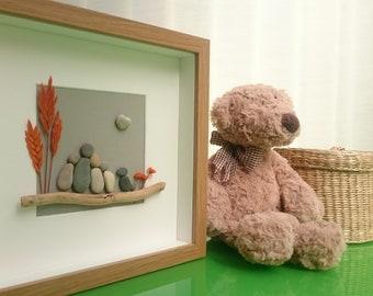 Pebble art family with pet, Pebble art family, Pebble art family of 4, Pebble art dog, Pebble art picture, Pebble gift