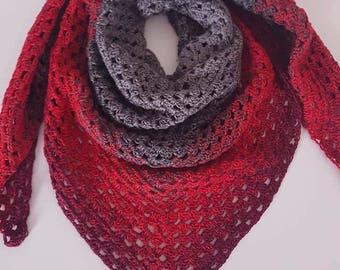 scarf/shawl - little granny shawl - shades of grey to red