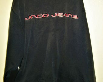 JNCO JEANS VINTAGE  Navy Blue And Red Spell Out Long Sleeve Crew Neck Pullover Sweatshirt Size X-Large