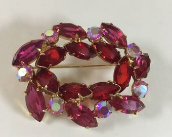 Vintage Austrian crystal brooch in red and pink