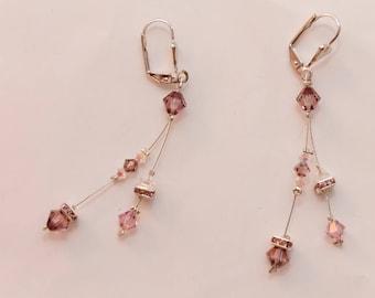 Nickel-free lilac/pink Swarovski crystal earrings