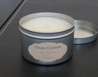 Natural Soy Candle - aluminum container, cotton wicks.