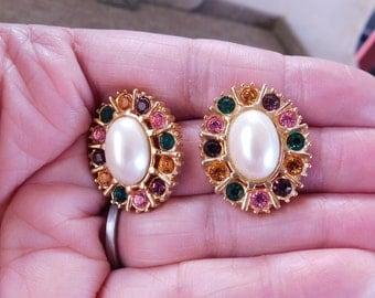 Faux Pearl Cab and Rhinestone Earrings, Pearl Rhinestone and Gold Earrings, 1980's Costume Jewelry, 1980's Costume Earrings, Pearl Studs