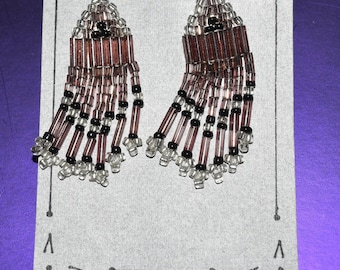 Clip On Hand Crafted Pink, Clear, & Black Beaded Earrings