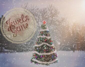 Christmas Tree Backdrop, Christmas Tree Background, Winter Digital Background, Winter Digital Backdrop, Snowy Winter Backdrop, Backdground
