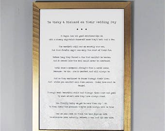 Bespoke, Personalised Wedding Poem/Reading - Printed and Framed A4 32 Lines
