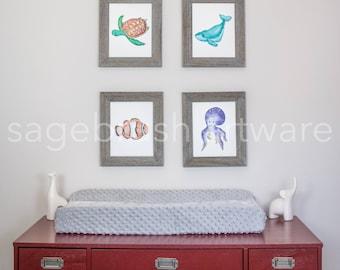 Digital Ocean Nursery Art - Baby Art Gift -  Digital Ocean Prints - Childrens Art - Girls Room Decor, Boys Room Wall Art - Watercolor Prints