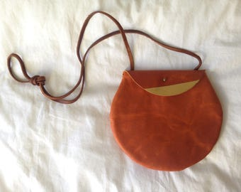 Round Leather Crossbody Bag - circle shoulder purse