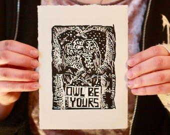 Owl Be Yours Handmade Linocut Card