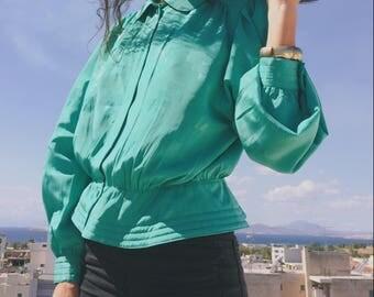 Vintage turquoise peplum blouse