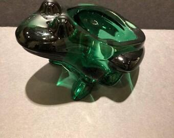 Sasaki Crystal Green Frog Candy Bowl