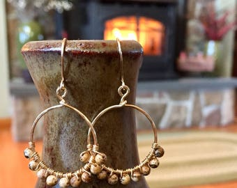 Gold Hoops with Wire Wrapped Jasper Beads