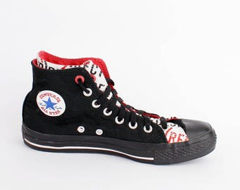 EU 39 - black limited edition Converse All Star - hi top Chuckies size uk 6 / US men 6 + women 8 - product RED sneakers chuck taylor