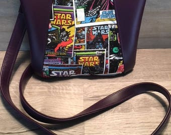 Sunshine Cross Body, Star Wars, Purple Faux Leather, Cartoon, Dark Side, Vader, Cosplay, Nerd