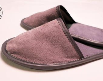 Gray leather slippers