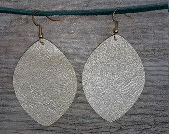 Shimmer White Teardrop Vegan Leather Earrings