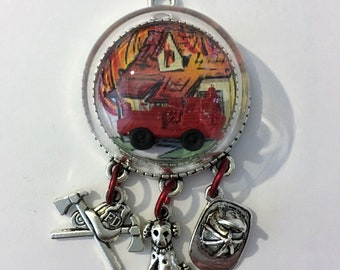 Fire truck fireman firewoman silver pendant necklace charms glass globe