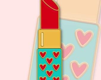 Heart Lipstick Enamel Pin Pre-Order