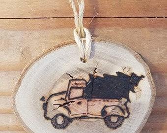 Pyrography Wood Ornament/Gift Tag/Stocking Tag - Donkey