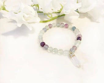 Rainbow Fluorite + Clear Quartz Healing Bracelet