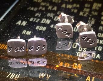 Sterling silver BAD ASS earrings