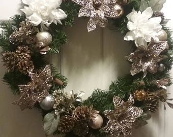 Rose Gold Floral Wreath