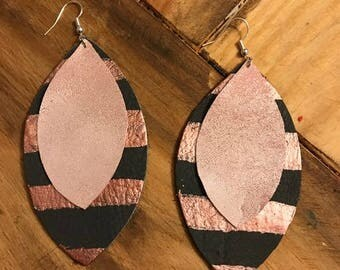 Grey and Rose Gold Leather Earrings