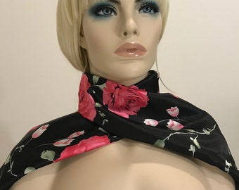 Skinny silky black and pink satin floral print scarf, women's scarves, scarf with flowers