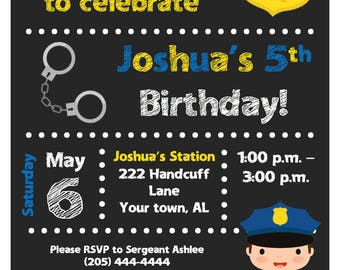 Police Chalkboard Birthday Invitation