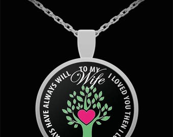 Valentines I Love You Wife Necklace - Husband Gift For Wife - Love Grows Anniversary Gifts From Husband - Silver Plated Pendant Necklace