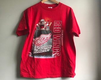 90s Taz Detroit Red Wings Red T-shirt - L