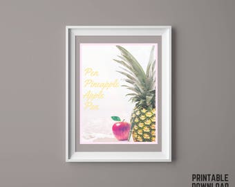 Pen Pineapple Apple Pen - Digital Print for Instant Download