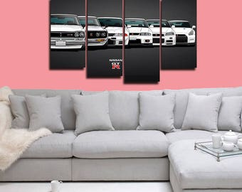 Nissan GTR Poster Nissan GTR evolution Canvas Car Print Wall Decor Wall Art Large Print Multi Panel Home Decoration Birthday gift Canvas art