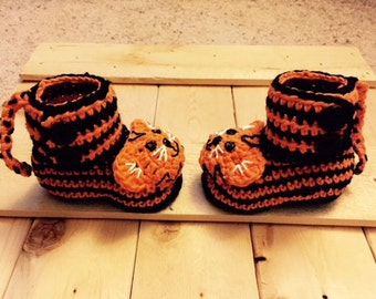 Tiger Baby Booties/ Orange and Black Baby Booties