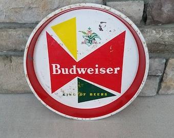 Vintage 1960's Budweiser Beer Tray - King of Beers Anheuser Busch - Original Bar Tavern