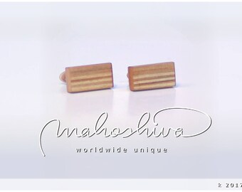 wooden cuff links wood cherry maple handmade unique exclusive limited jewelry - mahoshiva k 2017-09