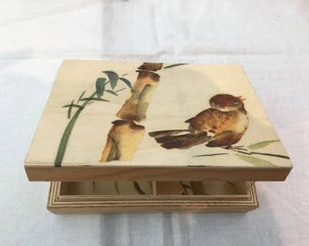 Bird bamboo decoupage box
