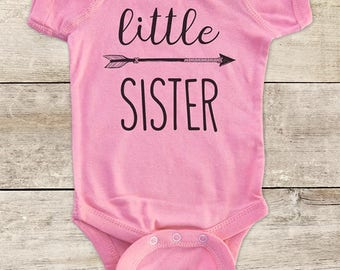 little SISTER hipster arrow baby bodysuit for baby announcement pregnancy - Baby bodysuit or Toddler Shirt or Youth Shirt