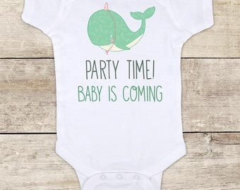 Party Time! Baby is Coming - cute baby whale surprise birth announcement Baby bodysuit pregnancy parents grandparents