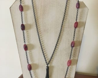 Mauve Beaded Opera-Length Gunmetal Necklace with Tassel