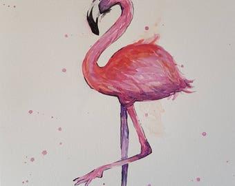 A4 Watercolour Flamingo