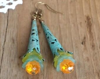 """Vintage lucite flower earrings """"Sunny Day"""", Victorian earrings, Boho earrings, Dangle earrings, Handmade earrings, Filigree earrings,"""
