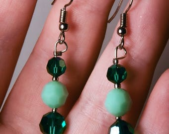 Handmade Earrings With Vintage Swarovski Crystal Beads