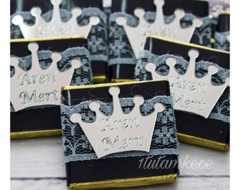 Set of 20 Personalized Chocolate- Baby Chocolate- Favor- Baby Shower Favors- Chocolate Wraps- Thank you Gift- Welcome Baby- Crown Chocolate