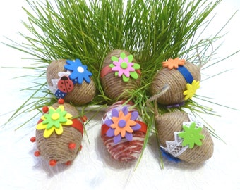 Set of 6 Easter eggs gift Rustic bowl filler Half dozen Jute twine wood eggs Easter table centerpiece