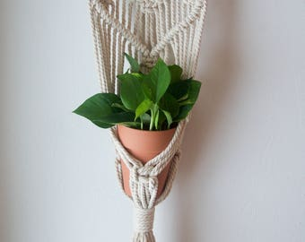 Macrame and Natural Wood Wall Plant Hanger in Cotton