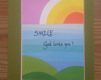Smile God Loves You Rainbow Calligraphy Matted Art