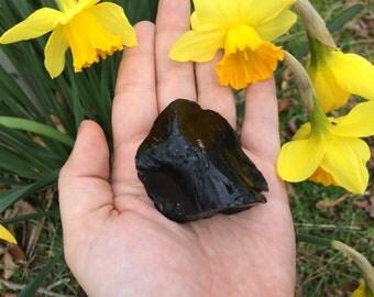 Large Raw Black Obsidian Crystal Chunk