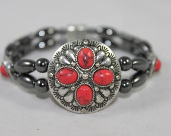 Desert Style Red Concho High Quality Magnetic Bracelet